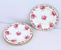 TIFFANY & Co Cauldon England Set of 4 Plates 6''  Porcelain Gold Trim Pink Roses