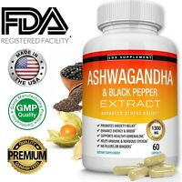 ☀ Organic Ashwagandha Capsules 1300MG with Black Pepper Root Powder