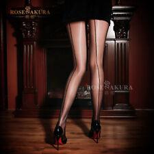 Alacki Shiny Glossy Back Seam Stocking Thigh High Nylon Ultra-Sheer Pantyhose