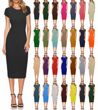 Women Ladies Celb Short Cap Sleeve Bodycon Crew Neck Midi Dress SZ 8-24