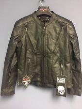 Black Brand Women's Leather Delilah Motorcycle Jacket Black, Large