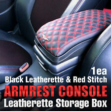 for All Vehicle Car Armrest Arm Rest Center Console Storage Box Leatherette Red