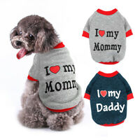Pet Dog Clothes Sweater For Small Dogs Yorkie I Love My Mommy Daddy Clothes