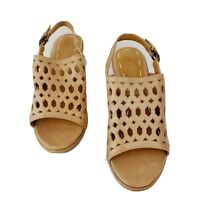 B. Makowsky 8M light brown leather wedge heels style name Solly