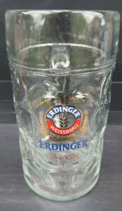 "1 Litre Large Heavy Glass ""Erdinger Weissbrau"" Germany Beer Stein..Like New"