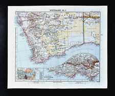 1911 Stieler Map Australia Victoria Sydney Melbourne & Western Perth Sharks Bay