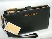 New Michael Kors Saffiano Leather Double Zip Phone Case Wallet Wristlet Black