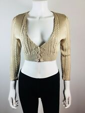 NEW TWIN SET SIMON BARBIERI Beige Silk Cropped Cardigan Sweater Size Medium