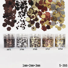 10ml/Box Glitter Powder Nail Art Coffee Tip 1mm 2mm 3mm Mixed Powder DIY