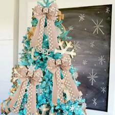 Christmas Tree Decoration Glittered Bows Gift Bows Xmas Party Glitter Decor T