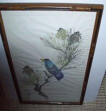 Vintage Asian Oriental Brush Painting Blue Bird Pine Cone Tree Framed Signed