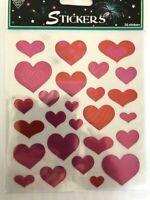 1 sheet (26 stickers )foil pink heart stickers DIY cards journals planner
