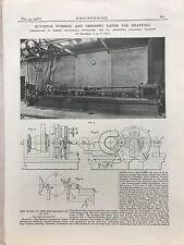 Multiple Turning & Grinding Lathe For Shafting: 1908 Engineering Magazine Print