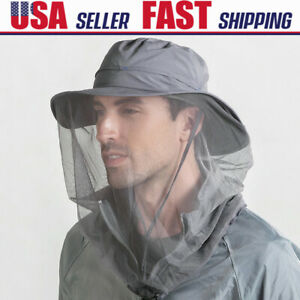 Hiking Fishing Mosquito Bug Bee Insect Head Net Hat Face Mesh Cap Sun Protection