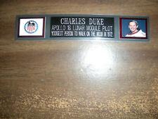 CHARLES DUKE (APOLLO 16) NAMEPLATE FOR PHOTO/DISPLAY