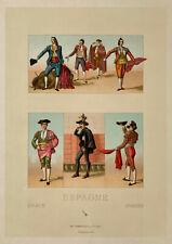 Racinet 4 Lithographies 1888 Costume Espagne Cuadrilla tauromachie castille