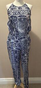 Tommy Hilfiger Denim Edrea Jumpsuit M 12 L 14 Navy Blue White Embellished BNWT