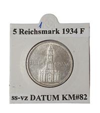 Germany Third Reich 5 Reichsmark 1934 F CHURCH whit Date Silver Coin KM#82 (1)