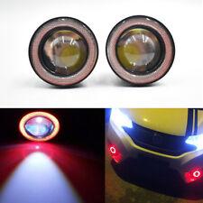"76mm 3"" Red LED Fog Light Projector Driving Lamp COB Angel Eye Halo Ring Kit"