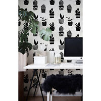 Geometric cacti pattern simple black and white Traditional Non-Woven wallpaper