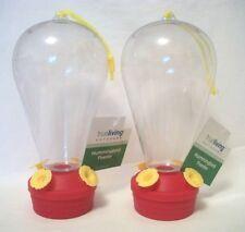 "2 Hummingbird Feeders New 9"" Reusable Lot Humming Bird Nectar Plastic Hanging"