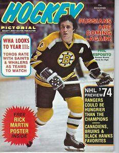 1974 NOVEMBER Hockey Pictorial magazine, Phil Esposito, Boston Bruins VG