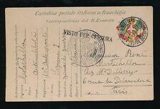 ALBANIA 1916 FRENCH MILITARY STATIONERY TRUPPE OCCUPAZIONE VFU + ITALIAN CENSOR