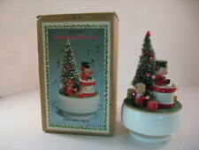 "Vintage Revolving Christmas Music Box Plays ""Jingle Bells"" Working"