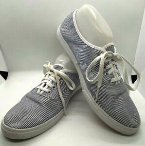 VANS Blue White Stripes Low Top Skate Original Classic Shoes M 8.5 W 10 TB4R