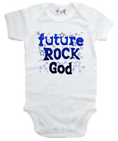 "Baby Rock Bodysuit ""Future Rock God"" Baby grow Vest Music Rock Heavy Metal Stars"