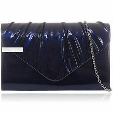 Navy Patent Pleated Leather Wedding Ladies Party Evening Clutch Hand Bag Purse