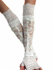WHITE LACE UP XX LONG FINGERLESS GLOVES CUFFS ARM WARMERS