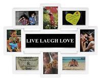 LIVE-LAUGH-LOVE Bilderrahmen Fotorahmen Fotocollage Geschenk - 8 Fotos weiß OVP
