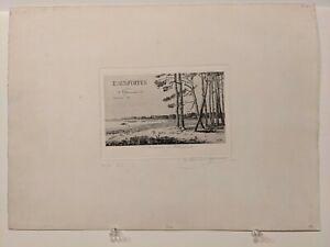 1871 C. N. Storm van 's-Gravesande Original Etching: Souvenir of Calmpthout Rare