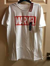 Men's White MARVEL logo T-shirt Size Large By Primark BNWT
