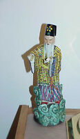 "Antique Chinese Oriental Porcelain Ceramic Figurine Priest Flowing Robe 12"" Nods"
