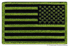 AMERICAN FLAG EMBROIDERED PATCH iron-on US CAMO GREEN uniform LEFT FACING