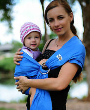 Walkabout Baby Sling Ring Carrier Wrap Pouch Wrap Cotton 5 Carry Positions Blue