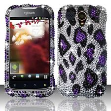 T-Mobile Huawei myTouch U8680 Crystal BLING Case Phone Cover Sil. Purple Leopard