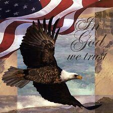 AMERICAN BALD EAGLE U.S. FLAG  COASTERS SET OF 4 FABRIC TOP / RUBBER BACKED