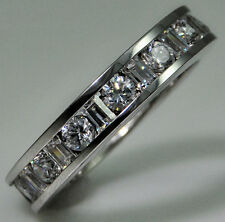 4 ct tw Eternity Ring Simulant Imitation Moissanite Size 6 Sterling Silver