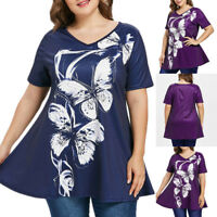 Fashion Women Plus Size Short Sleeve Loose Print T-shirt V-Neck Tops Blouse Tees