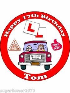 Personalised Learner Driver 17th birthday L plates edible cake topper round Boy