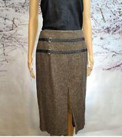 Willi Smith Women's Brown Tweed Wool Blend Pencil Skirt NWOT Sz 14 Italian