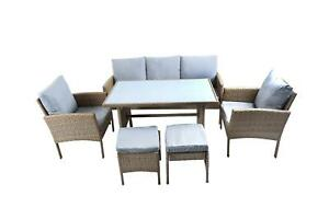 Outdoor Rattan Garden Furniture Set Table Chairs Sofa & Stools Patio 7 Seater