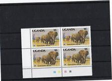 WWF- UGANDA- A 601( 10 Oben) VIEREBLOCK !! Elefanten   -POSTFRISCH
