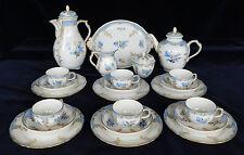 KPM  Antique Tea Coffee Service Royal Berlin Porcelain Bleu Mourant Décor 56