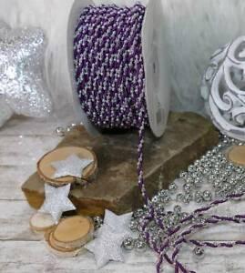 5m Schleifenband (0,38€/m) Satinkordel und Perlenband silber lila Weihnachten R8