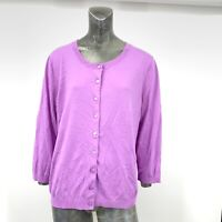 Talbots Women XL Cardigan Sweater Lilac Purple Thin Knit Cotton Blend 3/4 Sleeve