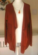 IMMACULATE RUST CARDIGAN SIZE 24. WATERFALL FRONT AND WESTERN FRILLS.